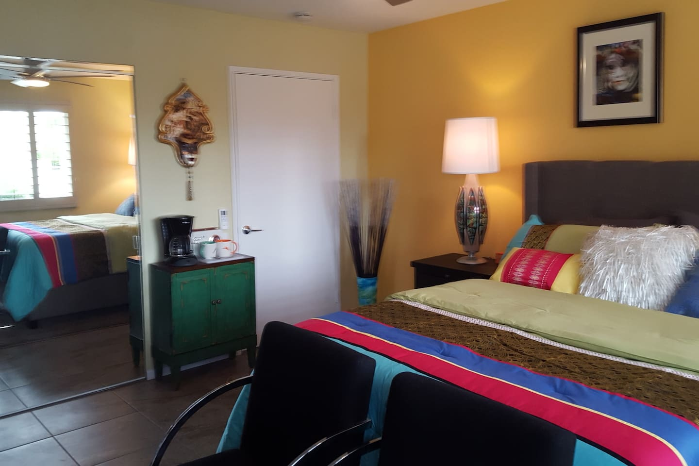 Colorful and fun room with a touch of Mardi Gras