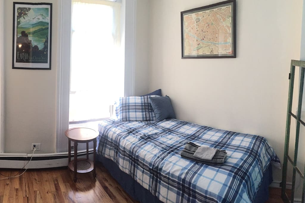 Twin sized bed and plenty of space for your things to pack away and feel like home