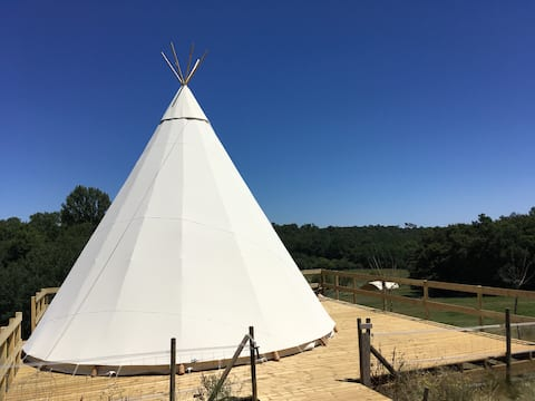 Tipi in the heart of nature and animals
