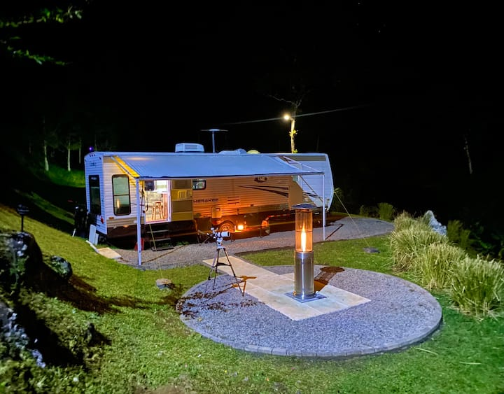 camper with volcano view in private residential