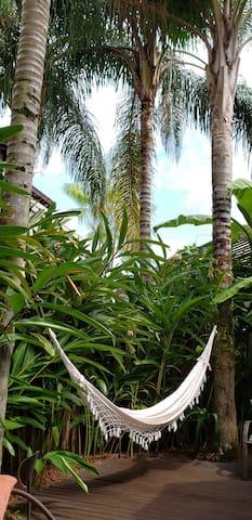 Rede nas palmeiras - deck da casa.