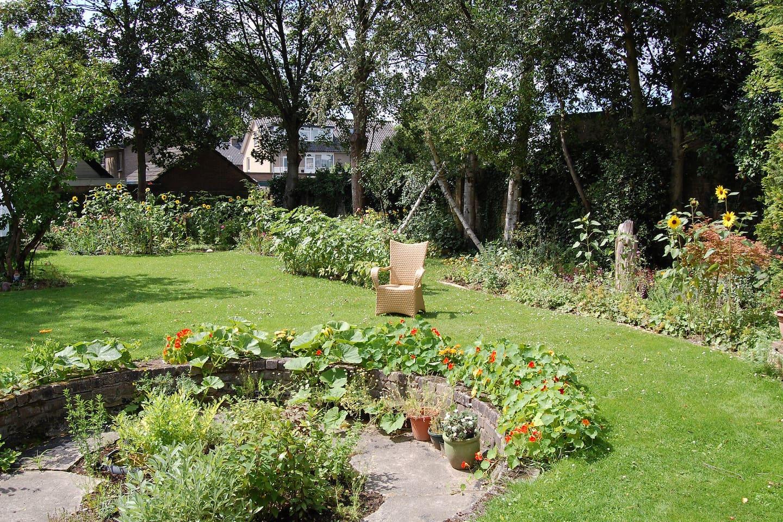Minstens 50 verschillende soorten bloemen vind je in de zomer in de tuin! Een heerlijke plek om te genieten van alle kleuren en geuren, vlinders, bijen en getjilp van de vogels.