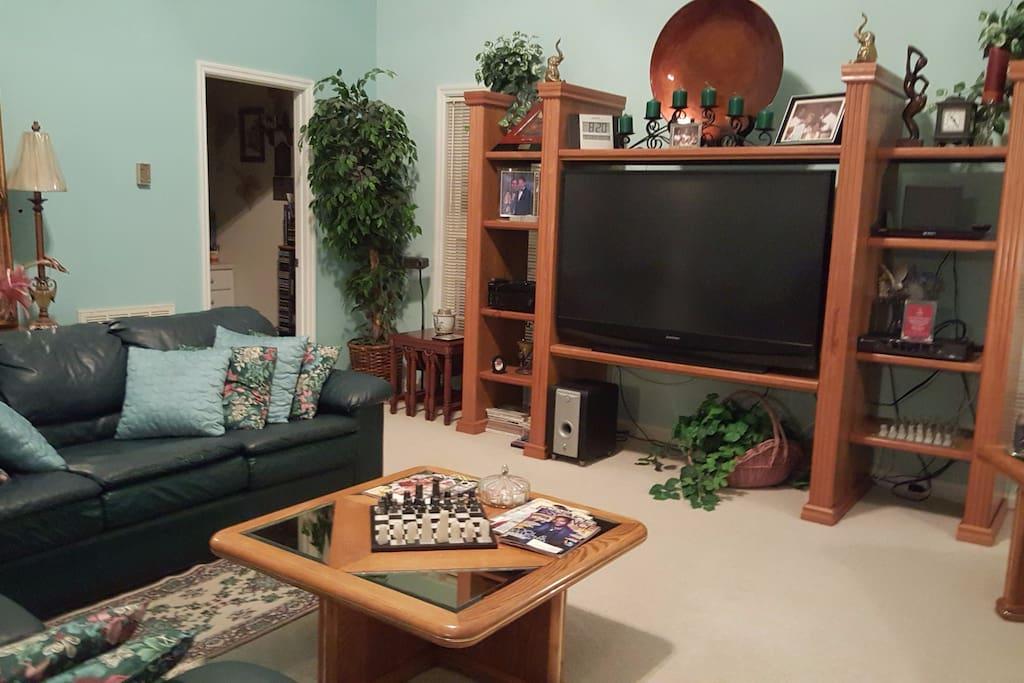 """Family Room w/60"""" HDTV"""