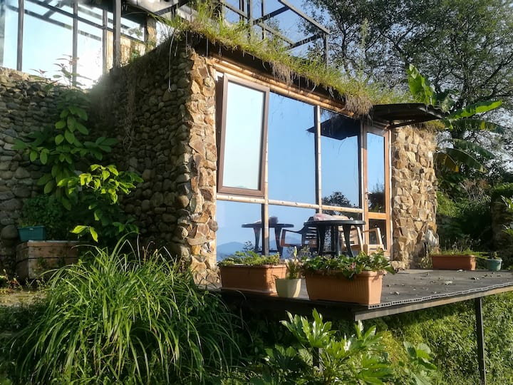 Tiny house with a terrace, panoramic view