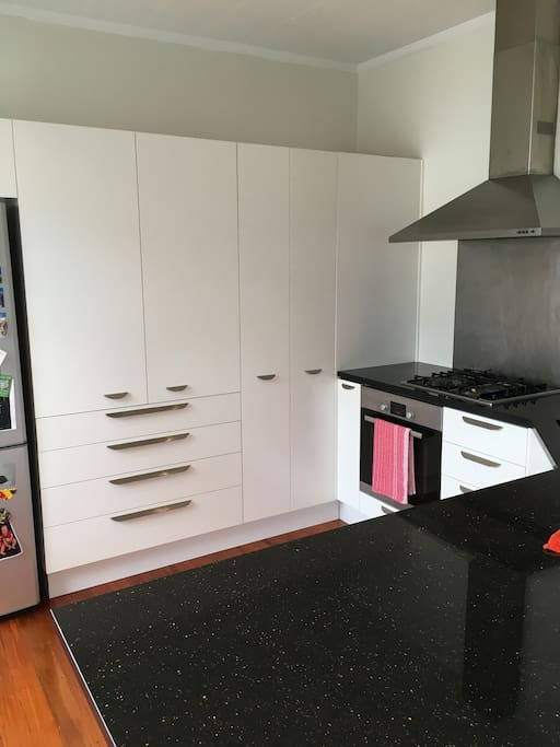 Spacious kitchen with oven, microwave, fridge and dishwasher