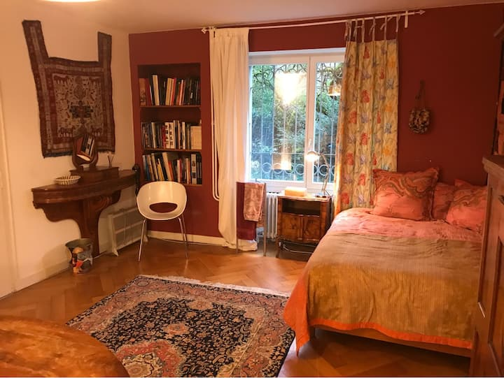 The Pink Library room in farmhouse