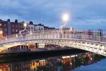 The ha'penny Bridge over the River Liffey - 15 minute walk