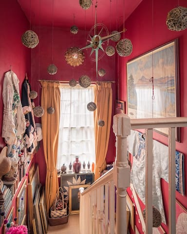 I hang dresses I have made using vintage fabrics, and beautiful things I have collected over the years.