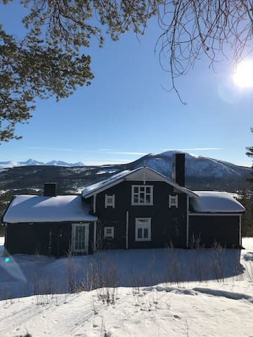 The house during winter with a perfect view to Rondane Mountains