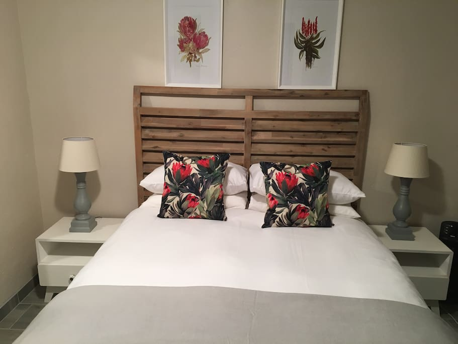 Modern main bedroom with a queen bed