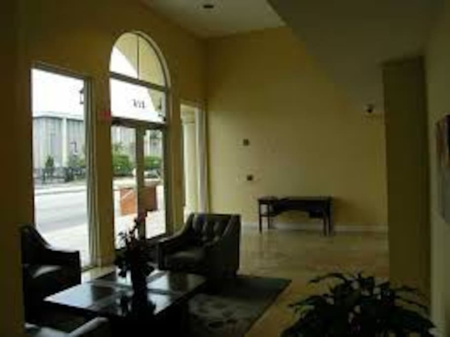 Lobby area with Gym in next room. Building has secured access. Public Transportation available right across the street.