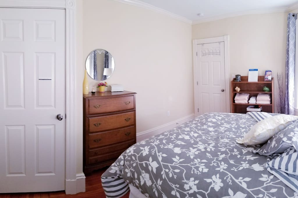 Ample room for your belongings! The closet provides room to hang your garment, extra pillows, blankets, clothing iron and an oscillating fan.