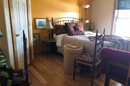 Queen bed with bamboo floors!