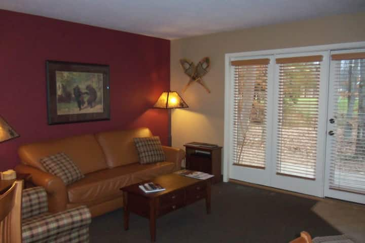 Homey condo w/ wood-burning fireplace & shared hot tub - close to mountain!