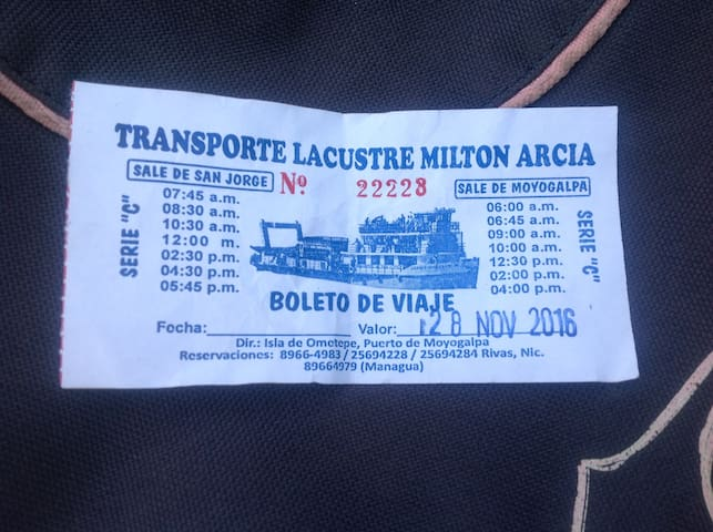 Ferry schedule to Moyogalpa (Ometepe) on left side...