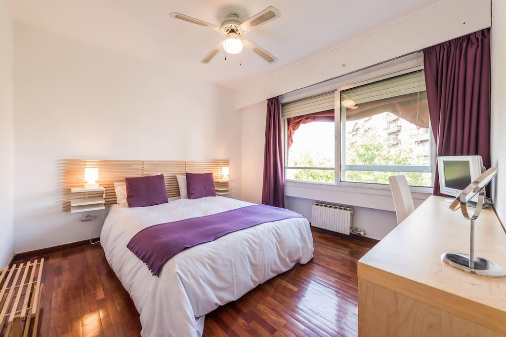 Este es tu dormitorio   Es muy tranquilo , puedes ver los arboles de la plaza desde la ventana