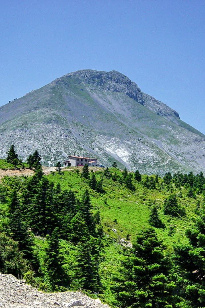 Dirfi and mountain shelter from distance