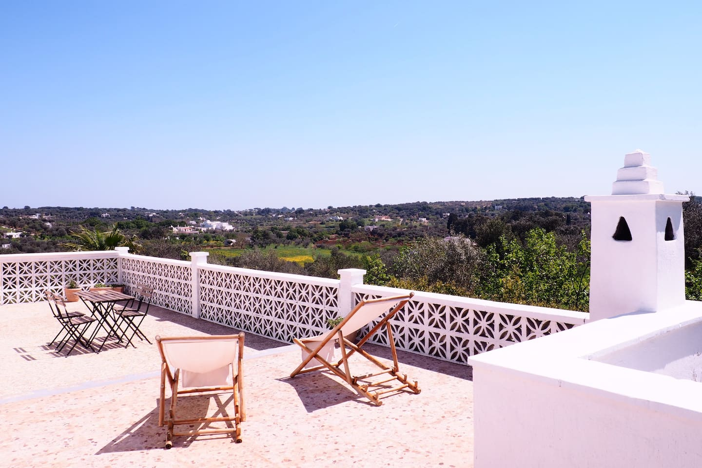 Large private balcony with view of the Itria Valley