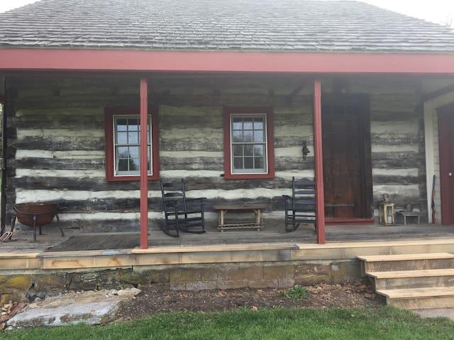 Rustic Hand-Hewn Log Farmhouse on 20 Acres