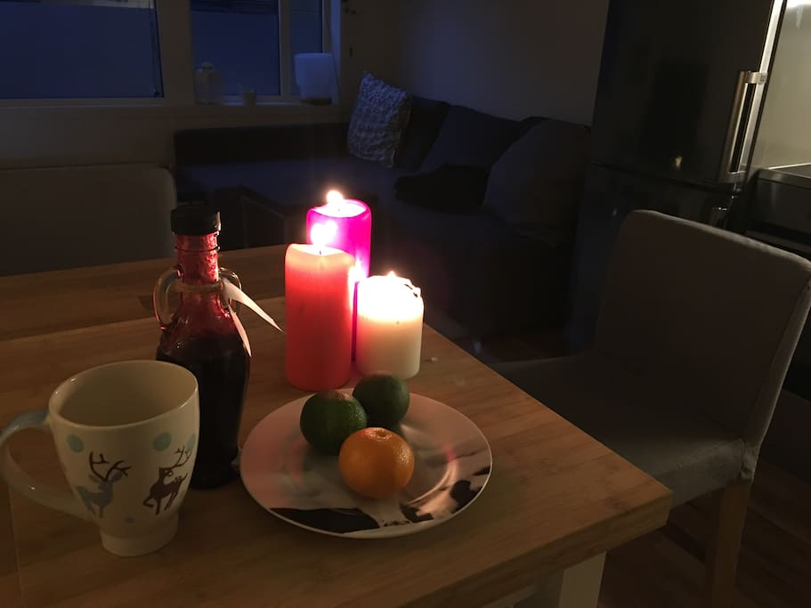 Cosy kitchen table for breakfast