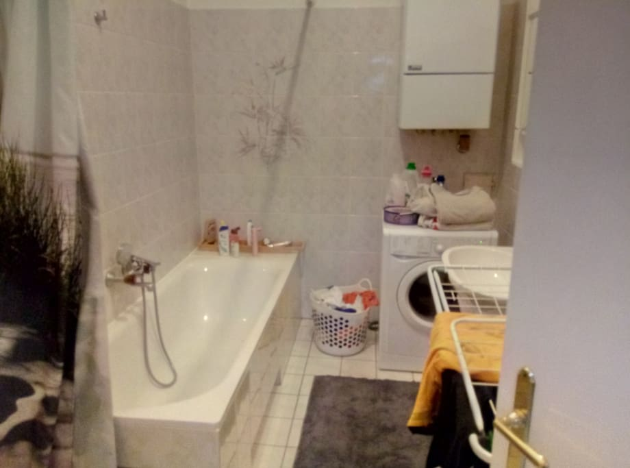The bathroom, with washing mashine and bathtube, I forgot to make a picture of the toilette, it is a simple one. just a toilette in a little room^^