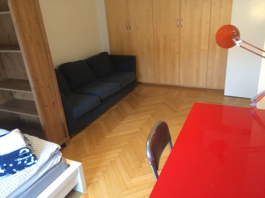 Sofa and lots of storage in the room