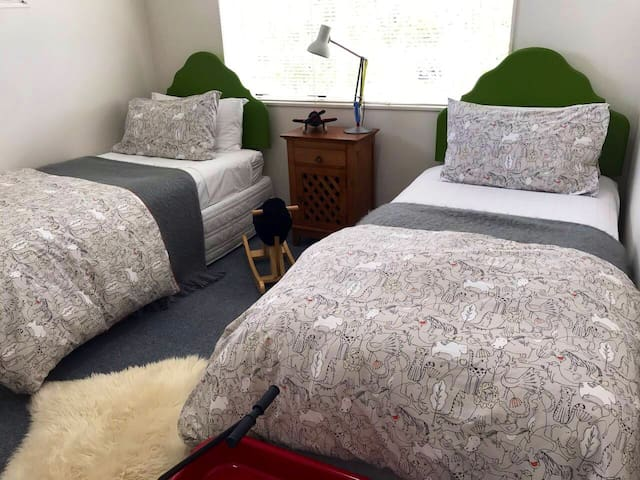 Kids bedroom with single beds but also very suitable for singles or a couple.