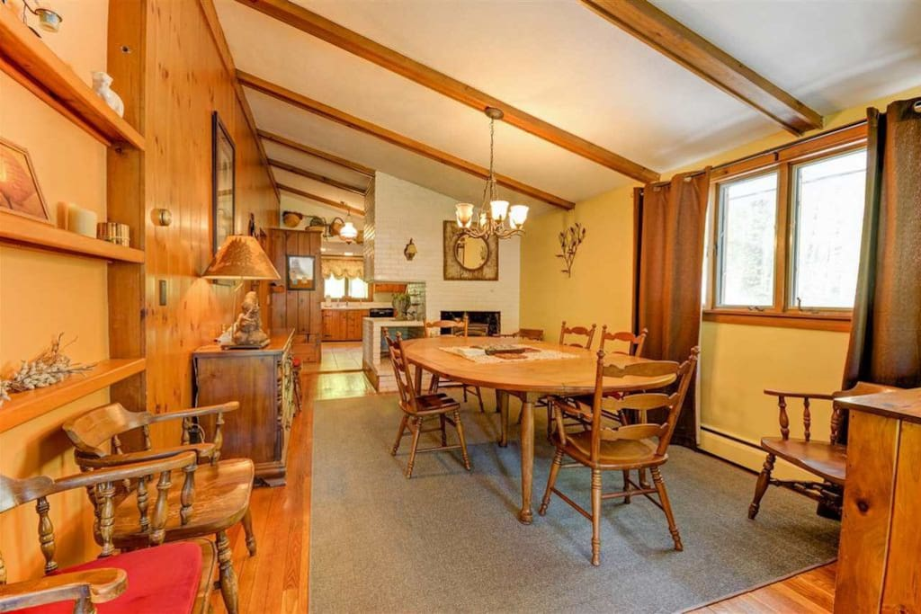 Family style Dining Room with Wood Burning Stove