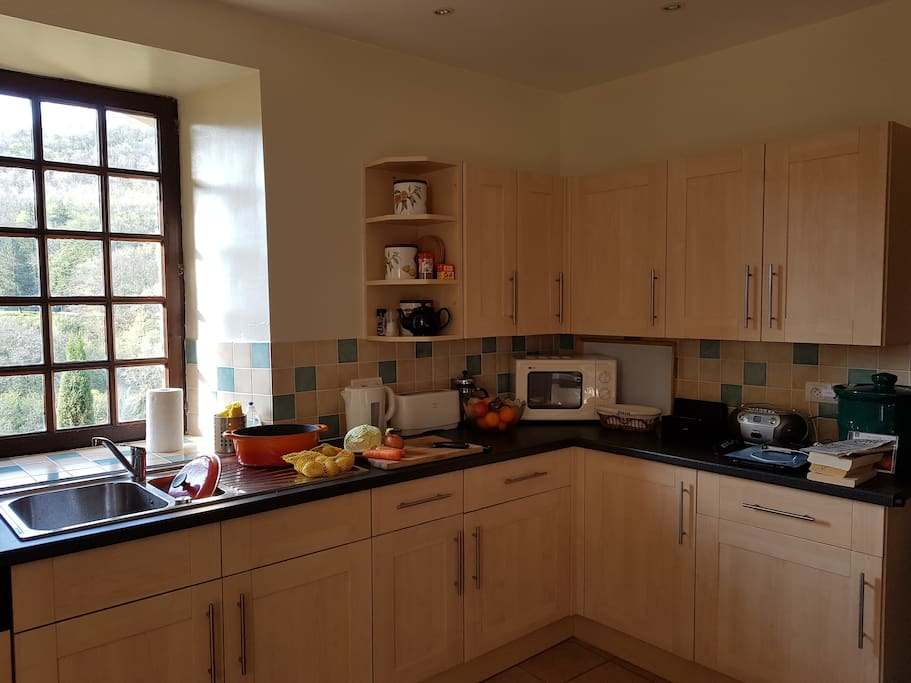 The large well equipped kitchen