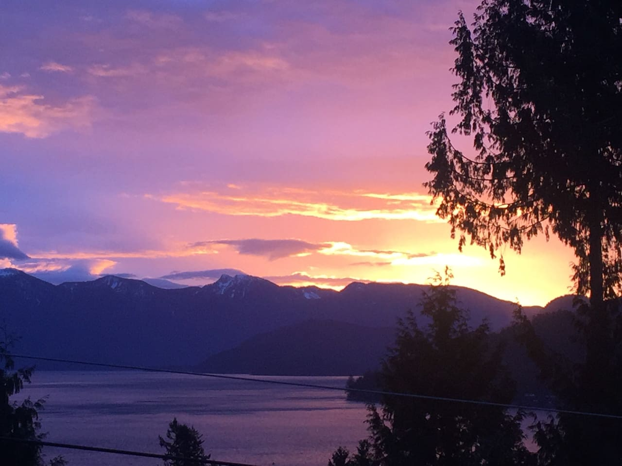 View at sunrise over Howe Sound mountains