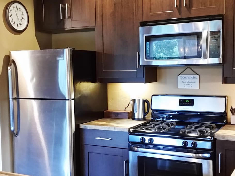 Our kitchen has stainless appliances and lots of counter space