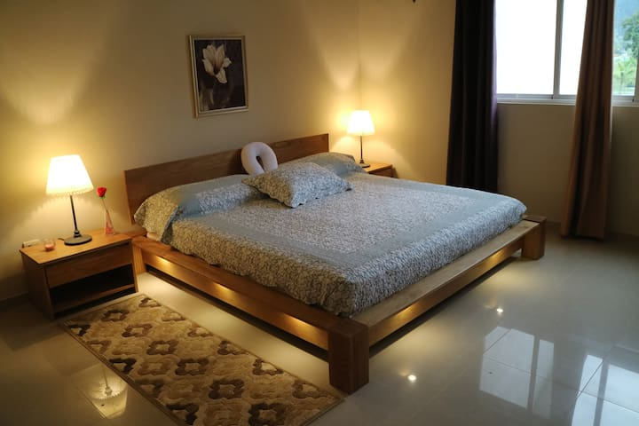Sleeping with king size bed, walk-in closet and own bathroom