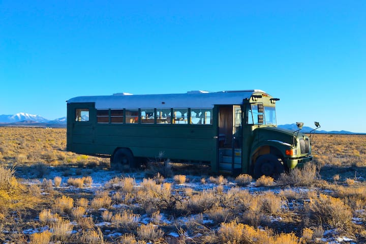 Helix - The Skool bus near the Grand Canyon