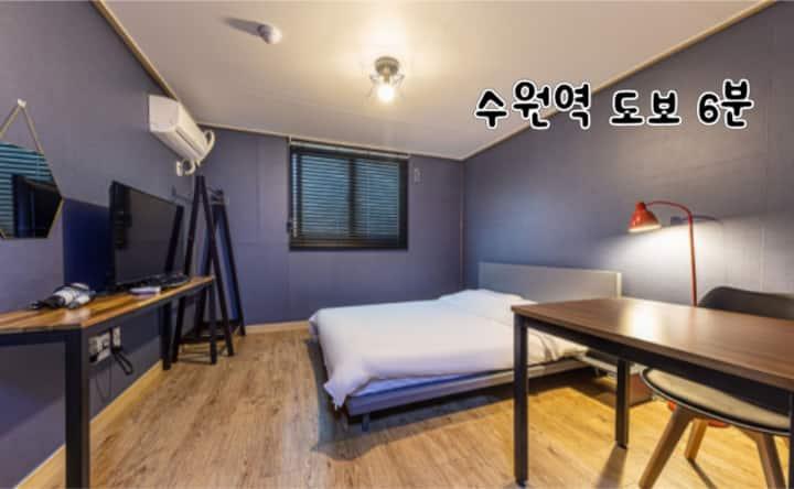수원역 / 퀸 베드1/장기숙박가능/자가격리불가