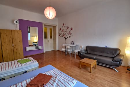 Bright&spacious w balcony, 1m Metro - Prague - Apartment