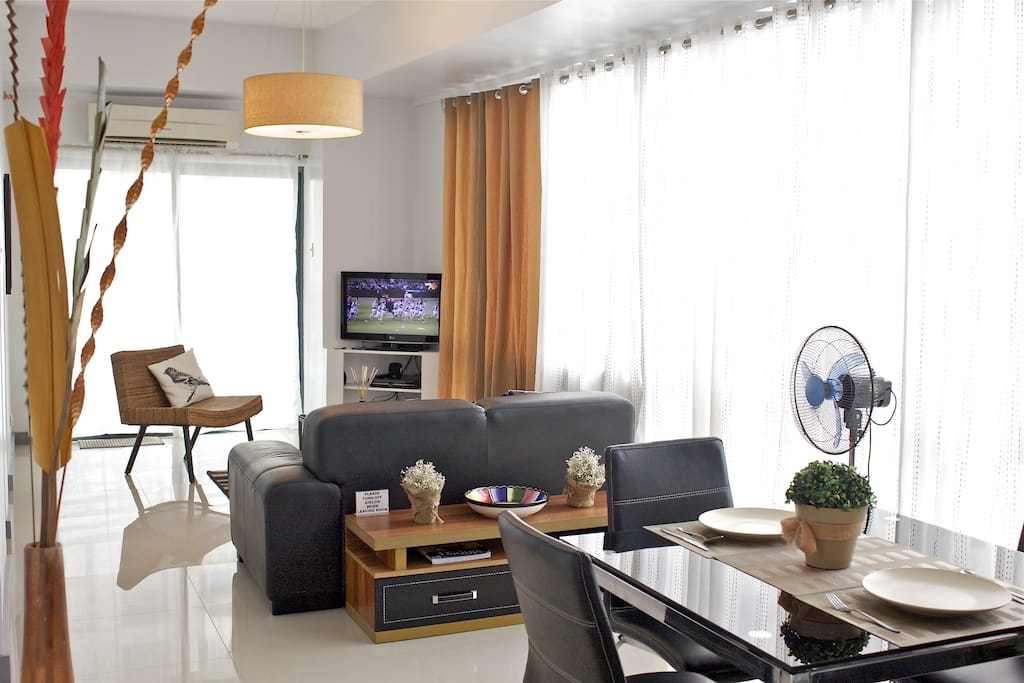 Air-conditioned living and dining area