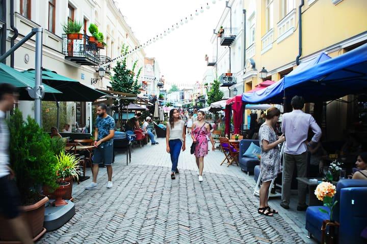 выходите из подъезда и через 1 минуту Вы на этой единственной в  городе старой пешеходной улице со старинными домами в балкончиках и с множеством разнообразных кафе и бутиков.