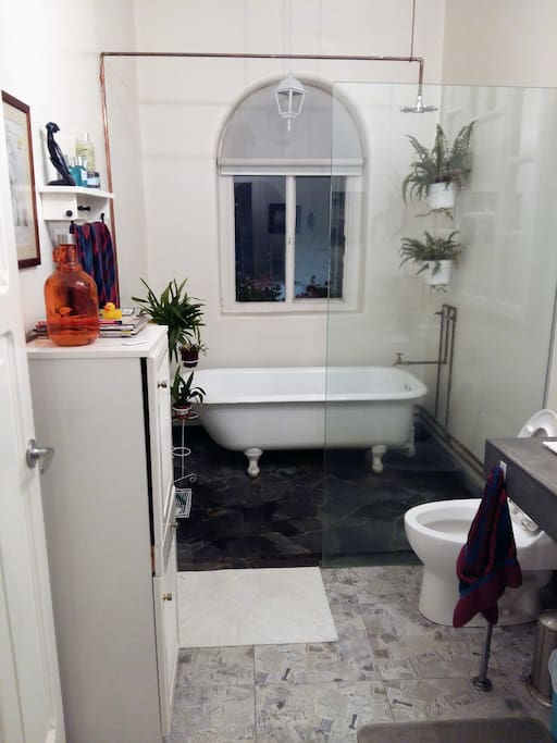 Shared bathroom, shower and tub