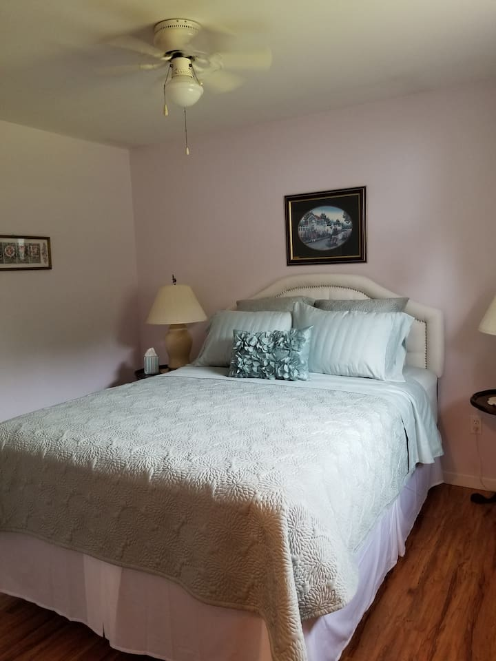 This is the Master bedroom with a brand new Sealy Posturepedic queen-sized bed.