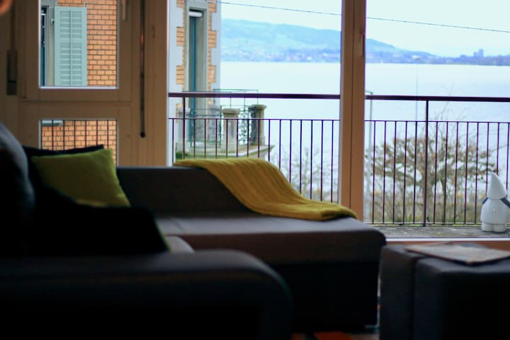 Bright Lake View Apartment in Zug City Center
