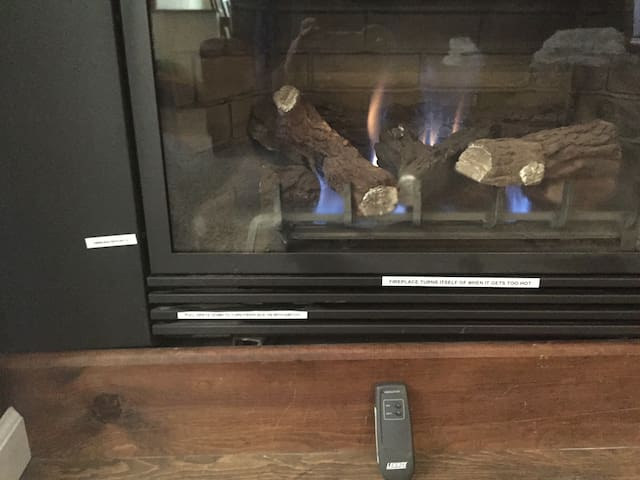 Our gas fireplace. It is not meant to have a real fire in, but boy does it get hot. You can either turn it on with the remote or open the grate below and turn it on with the switch.