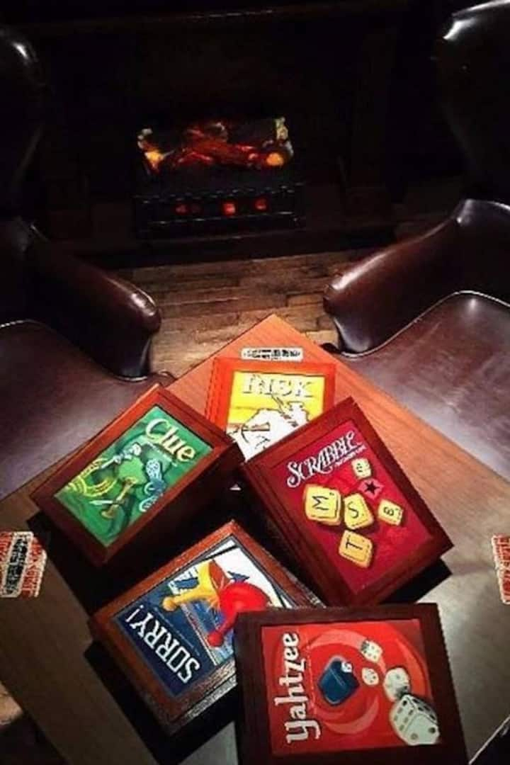 Games by the fireplace.