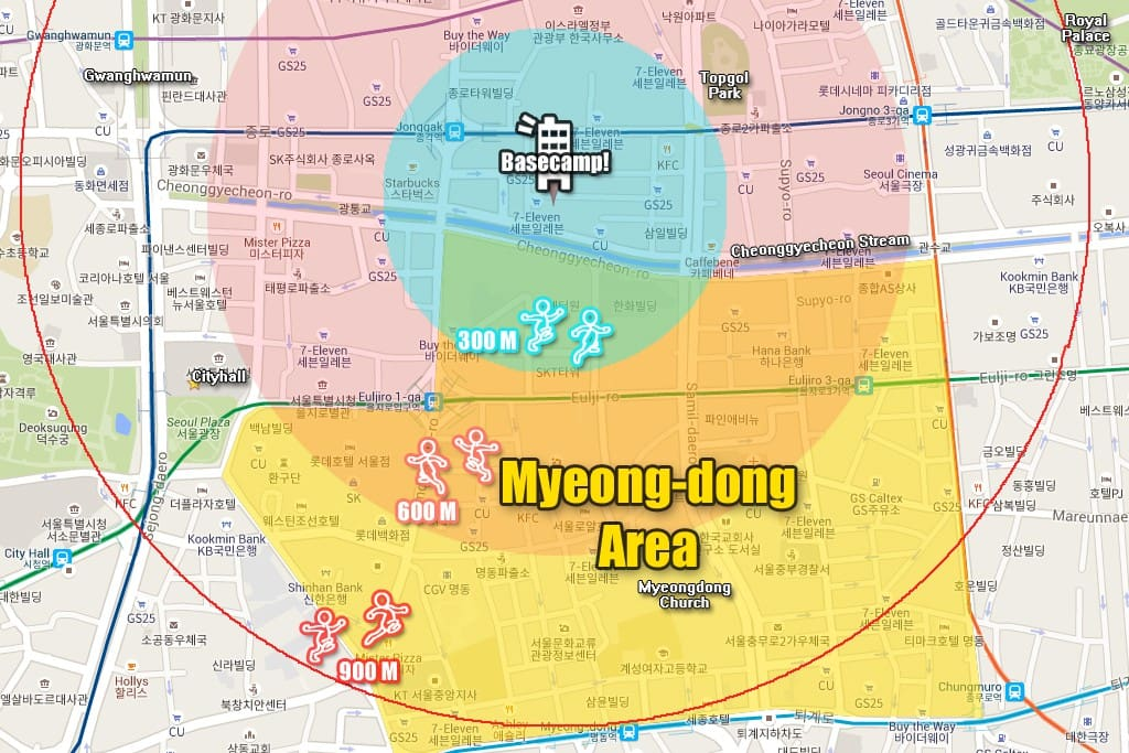 Walking distance from Myeongdong Area
