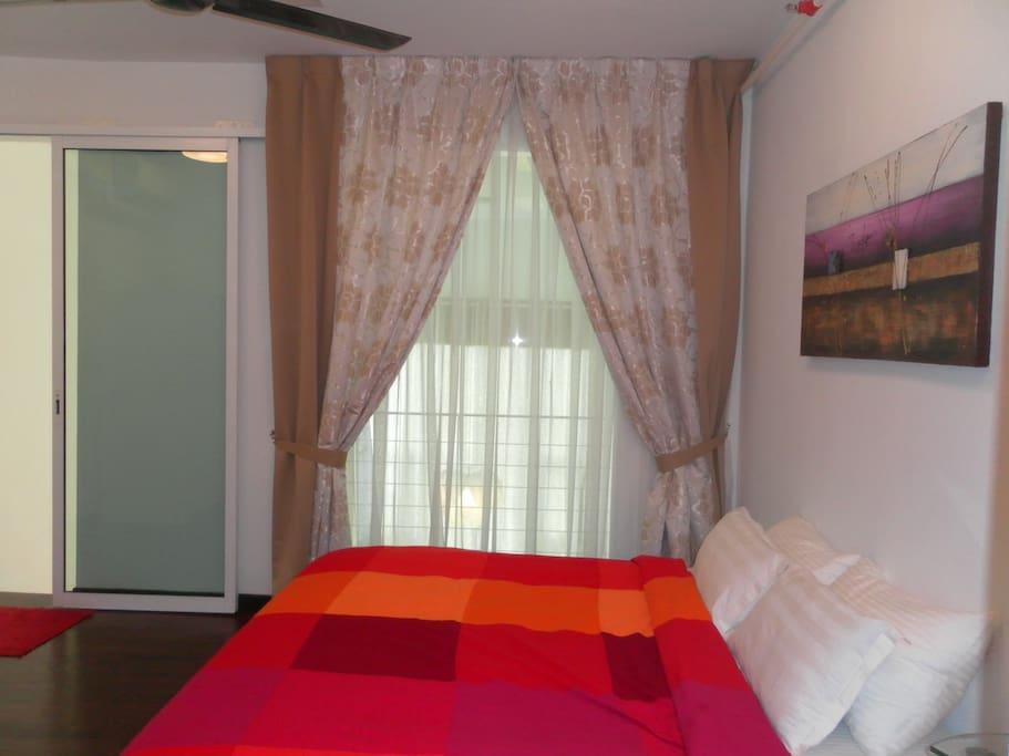 Master Rooms open to an indoor balcony that looks down below