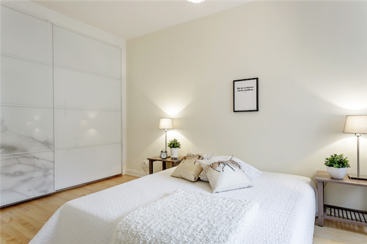 Bedroom with large storage