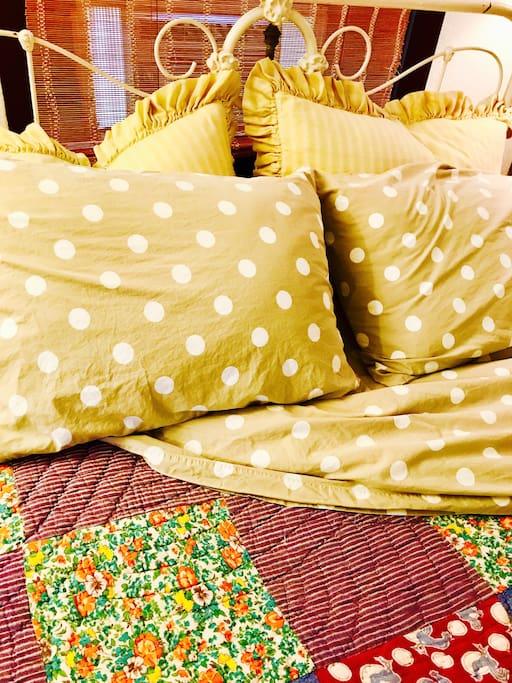 Custom linens and Garnet Hill luxurious sheets.