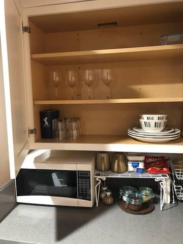 Microwave / Coffee and Tea Station