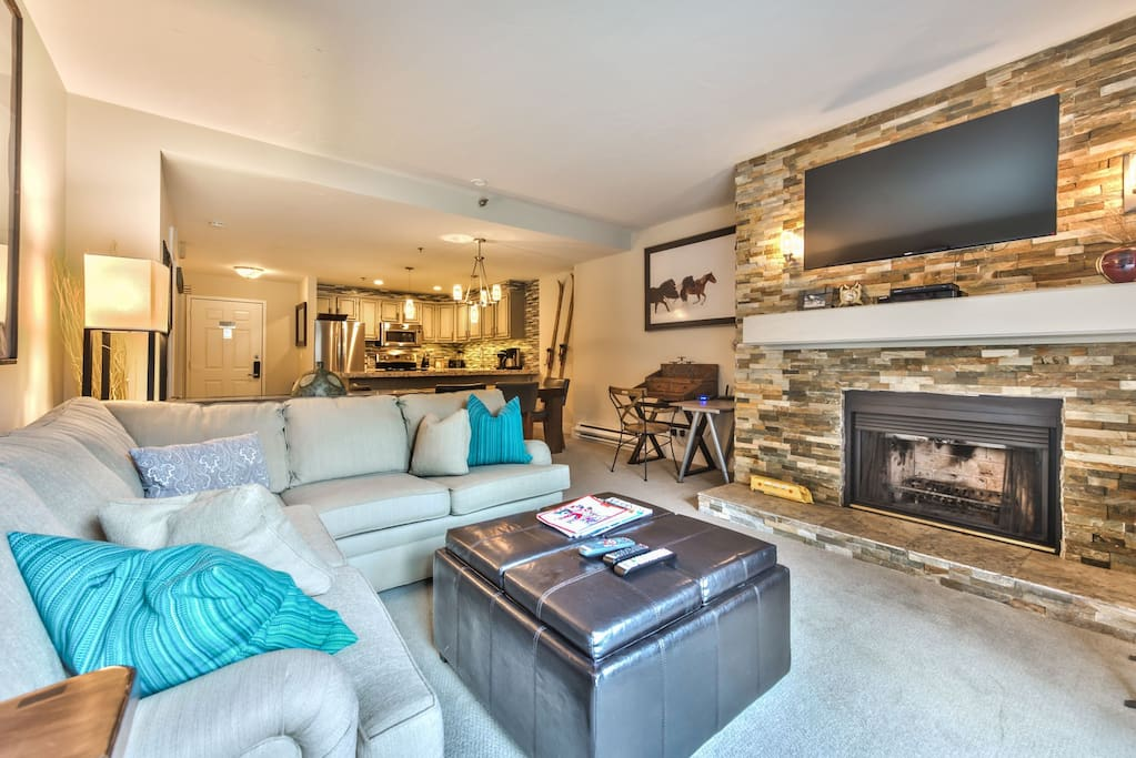 """Living Room with 50"""" HDTV, DVD, Wood Burning Fireplace, Deck Access with BBQ"""