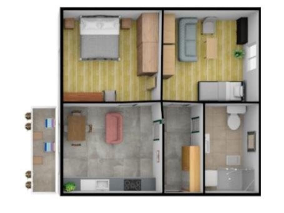 Floor plan. Big kitchen with a table and a sofa. Bedroom 1 with double bed, wardrobe and bedroom 2 with pull out bed (two single beds), extendable sofa and tv. Bathroom has a shower and a washing machine. Balcony has a view to garden and mountains.