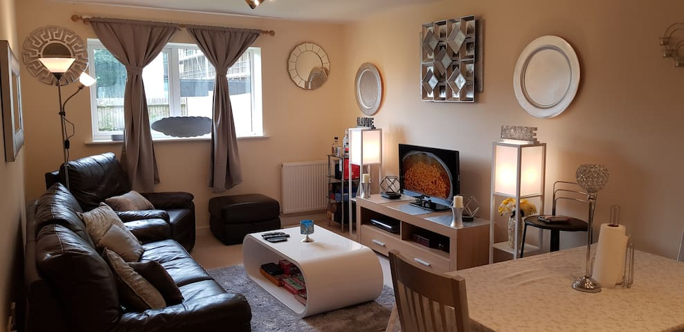 Living room: Brightly decorated. Loads of natural light.  TV fitted with Sky box, Google Chromecast, Android box, providing a large number of channels.